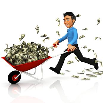 3D business man carrying money